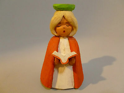 Vintage Hand Carved Wooden Henning Norway Woman Candle Holder