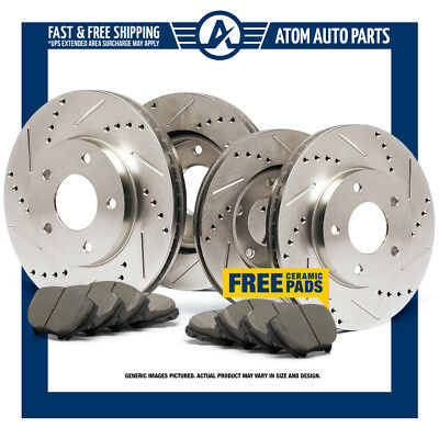 (FRONT & REAR KIT) Slotted & Drilled Rotors AND Ceramic Brake Pads