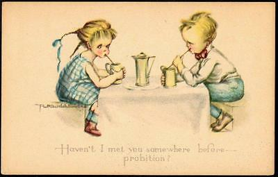 USA Prohibition Temperance PPC- Boy & Girl Drinking - Signed Ruth Welch Silver