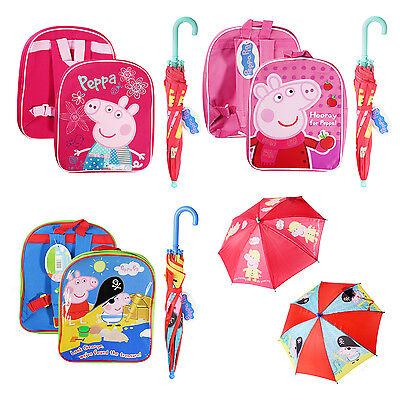 Official Girls Boys Peppa Pig School Childrends Kids Backpack Rucksack Umbrella