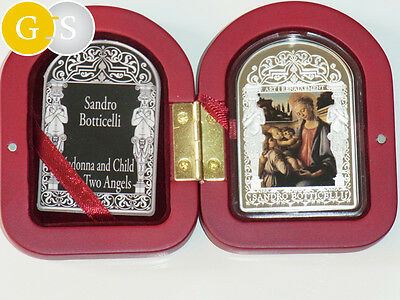50 gr Silber Proof Sandro Botticelli 15 Dinar Andorra 2012 madonna Child 2 angel
