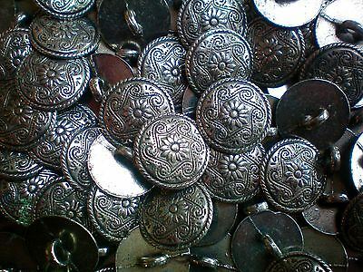 15mm 24L Antique Silver Effect Flower Metal Shank Costume Jacket Buttons (XM41)X