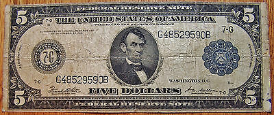 1914 $5 Five Dollar Bill Federal Reserve Note - Large Bill