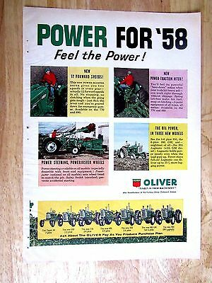 1958  Oliver Tractor  Print Ad  8.5 x11 in
