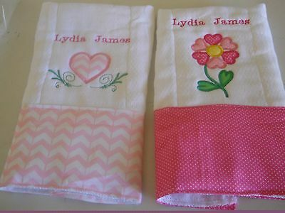 Personalized Applique  Baby Burp Cloths Hearts Set of two for girl