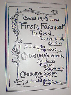 Cadbury's Cocoa first and foremost good old english cocoa 1902 old advert