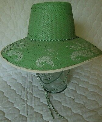 Vintage Ladies Straw Sun Hat with Stenciling Sun Outdoor Gardening
