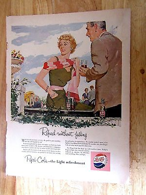 1954 Pepsi Cola Refresh Without Filling Vintage Print Ad