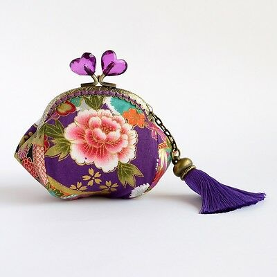 Hand crafted peone Japanese coin purse - collectable #0081