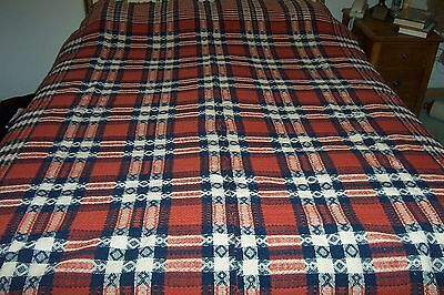 """Antique, Double Weave, Coverlet , 85"""" x 72"""", Red, White & Blue, Jacquard Style"""