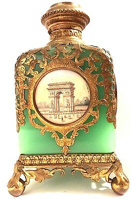 Antique Opaline Glass Ormolu French Perfume Scent Bottle Grand Tour Bronze