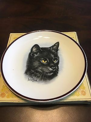 Coalport Black Cat Plate By Derick Bown Brown Rim 6 1/2""