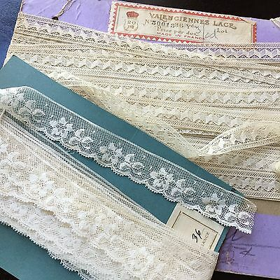 Antique Valenciennes Lace 1900s French Dress Trim Edge Cards Yards Doll Bear Lot