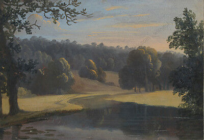 """Romantic Landscape"", English School, Gouache, Early 19th Century"
