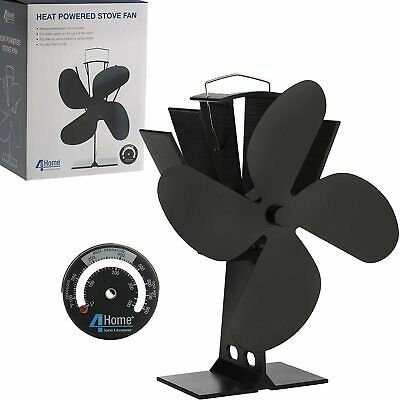 Eco Friendly Heat Powered Stove Fan For Wood Log Burners + Free Thermometer