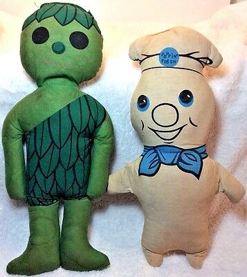 Vintage Pillsbury Dough Boy POPPIN FRESH & Green Giant SPROUT Pillow Dolls