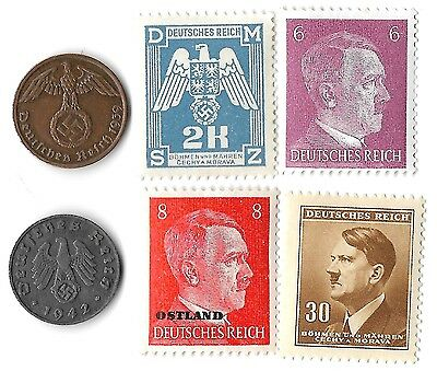 Rare Old WWII WW2 Nazi Swastika 6 Coin Stamp Hitler War SS Collection Lot uk us
