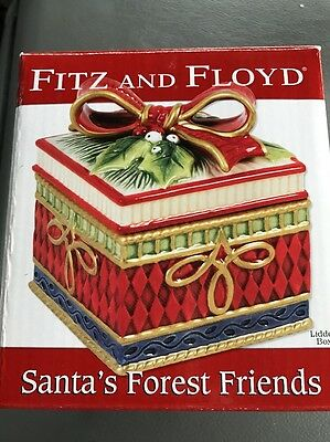 NIB Fitz And Floyd Lidded Box Santa's Forest Friends Macy's Exclusive 29-227