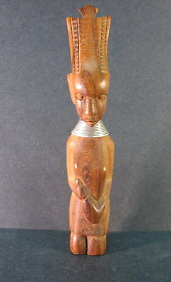 """Egyptian Style Hand Carved Wood Figurine, 5-1/2"""" tall"""
