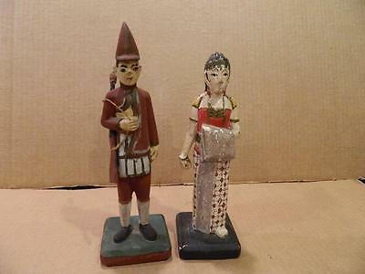 Java Hand Carved Wood Figurines Woman & Man w/ Rifle Antique