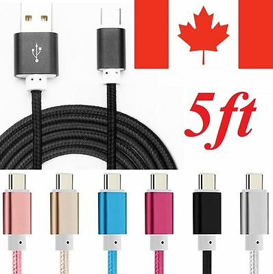 USB Type C 3.1 Braided Sync Charger Charging Cable for Galaxy S8 LG G5 Nexus 6P