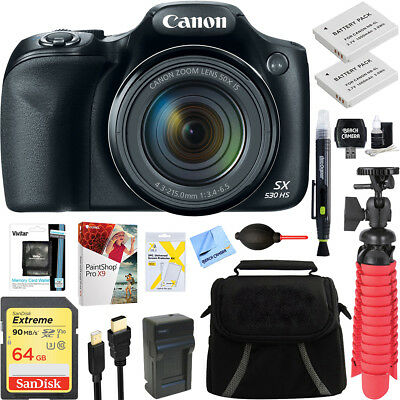 Canon PowerShot SX530 HS 16MP Digital Camera + Spare Battery & Accessory Kit