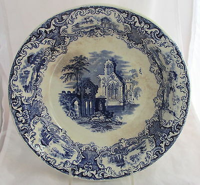 Antique Maastritcht Abbey Made in England Blue Transferware Round Serving Bowl