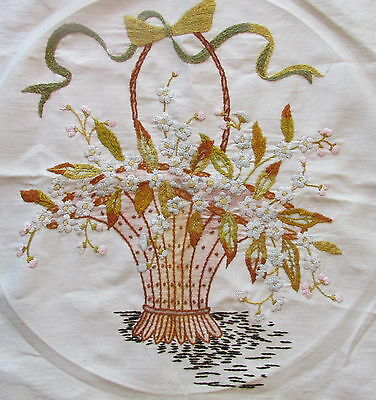 Vintage Hand Embroidered Crewel Stitched Handled Basket of Flowers Pillow Top