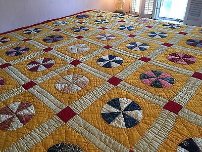 Antique Vintage Quilt 1930's Fabrics Cheddar Yellow Spinning Circles Gorgeous