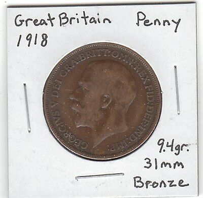 GREAT BRITAIN 1918 Penny coin - nice! - Ruler: Edward VII