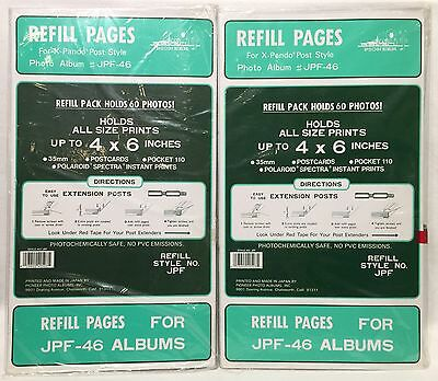 "2 Packs Pioneer Refill Pages JPF-46 4"" x 6"" Each Pack Holds 60 Photos X-Pando"