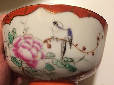 Antique Chinese Porcelain Bowl With Coral Glaze And Enamel Flower And Bird Motif