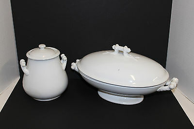 Antique T & R Bootes White Ironstone Savoy Pattern Oval Tureen & Cover c1890