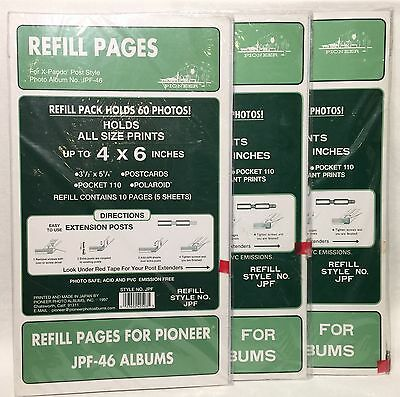 "3 Packs Pioneer Refill Pages JPF-46 4"" x 6"" Each Pack Holds 60 Photos X-Pando"