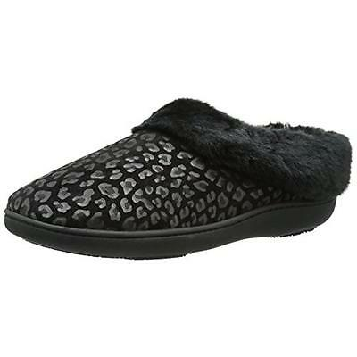 Isotoner 5793 Womens Black Microsuede Clog Slippers Shoes M 7.5-8 BHFO