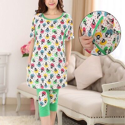 Newest Maternity Sleepwear Set Colored Print Nightshirt Breastfeeding Nightdress