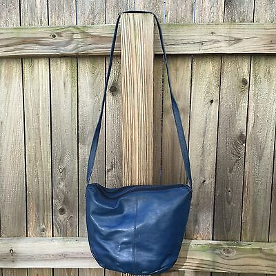 Vintage Hipster Chic Pioneer Blue Leather zipper top BUCKET Shoulder Purse