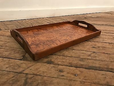 Art Deco? Edwardian? BURL WOOD Rectangular Serving Tray with Handles