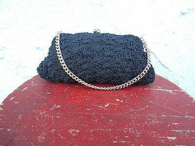 Vintage Gimbles Black Evening Bag With Gold Chain.
