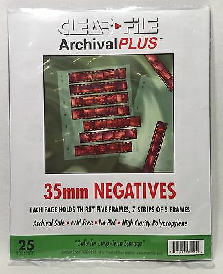 23-Pack Clear File Archival Plus 35mm Negatives Protective Pages 35 Frames Each