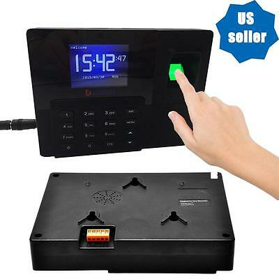 USB TCP/IP FINGERPRINT TIME CLOCK EMPLOYEE PAYROLL RECORDER PUNCH With Battery