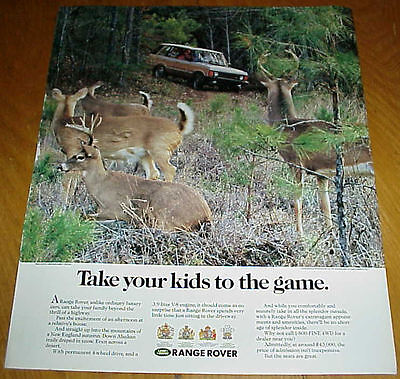 1991 Range Rover 1 Page Ad New England Autumn Deer in Forest #032017