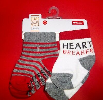 nwt-BOYS-Carter's-2 Pair Infant-Baby-Socks-0-6 Mo.-Cutest Bachelor-Shower Gift