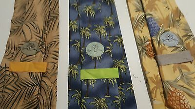 Tommy Bahama Tropical Men's Lot of 3 Neckties Yellow Beige Blue Palms Pineapple