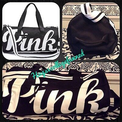 Victoria's Secret VS PINK BLACK WHITE Shoulder Gym Duffle Duffel Bag NEW ❤️