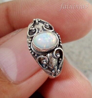 Opal Solid Silver, 925 Balinese Traditional Design Ring 38185