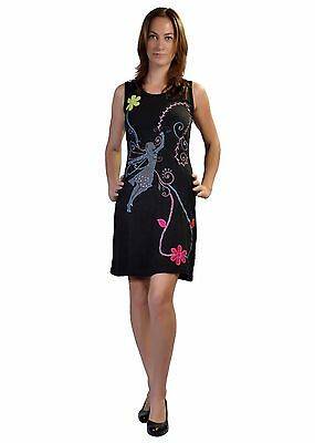 Women's Summer Sleeveless Dress With Angle & Floral Embroidery