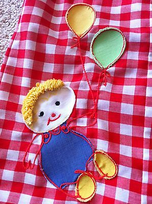 Vintage Infant Red Gingham Romper Shortall Appliqued Yarn Haired Doll Playsuit
