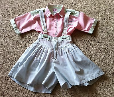 Vintage Girls Culottes 2 Piece Dress Suspender Skirt/culottes SS Shirt Stripes