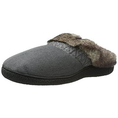 Isotoner 3779 Womens Henna Gray Microsuede Clog Slippers Shoes M 7.5-8 BHFO